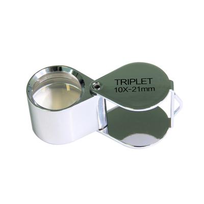 Saxon 10x 21mm Metal Loupe Magnifier – Silver