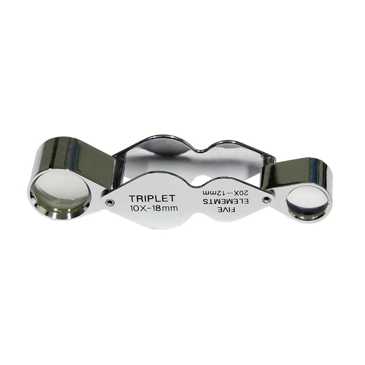 Saxon Metal Loupe Dual Magnifier w/ 10x18mm & 20x10mm