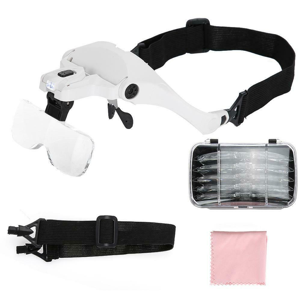 Hands Free Headband Magnifier 1-6X With LED Light
