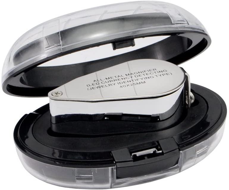 Binocentral Metal Loupe 25mm 40x Magnifier w/ Dual LED Light